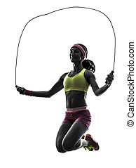 pular, exercitar, silueta, corda, mulher, condicão física