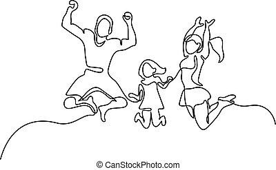 pular, família, feliz