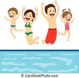 pular, família, piscina
