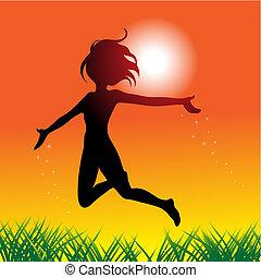 pular, feliz