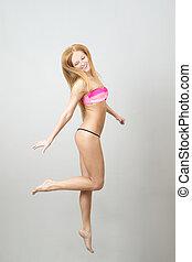 pular, feliz, swimsuit, mulher, bonito