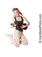 pular, fiddle., menina, punk