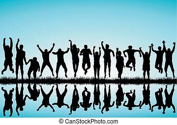 pular, grupo, jovens