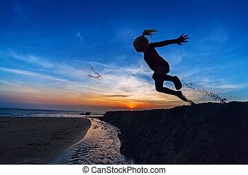 pular, menina, praia ocaso