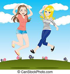 pular, meninas, feliz