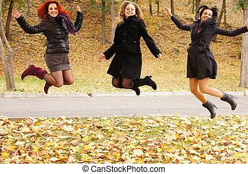 pular, meninas, três