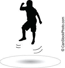 pular, menino, trampoline