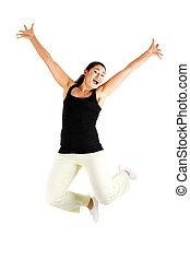 pular, mulher, feliz, jovem, ar