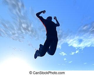 pular, para, a, céu