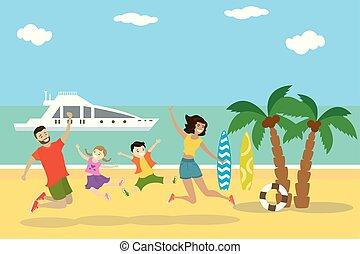pular, praia, tropicais, família feliz, praia, caricatura