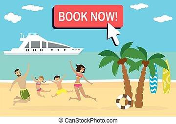 pular, praia, tropicais, feliz, paisagem, família, caricatura