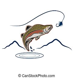 pular, salmão, paisagem, fundo