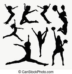 pular, silueta, cheerleader