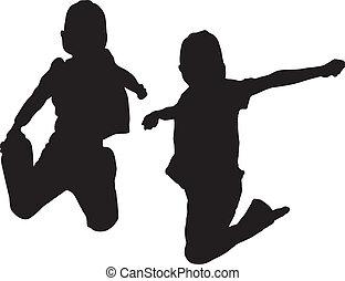 pular, silueta, crianças