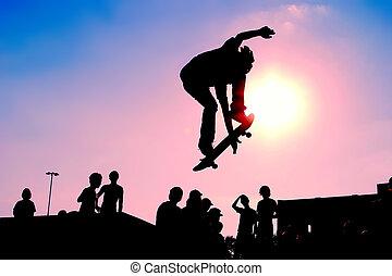 pular, skateboarder