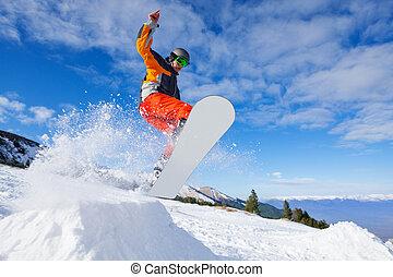 pular, snowboarder, de, colina, em, inverno