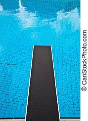 pular, tábua, piscina, natação