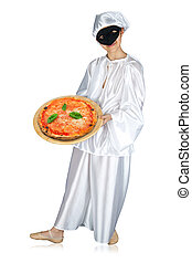 Pulcinella and pizza - Pulcinella, traditional neapolitan...