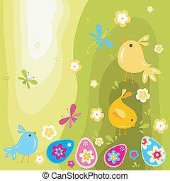 pulcini pasqua, e, uova
