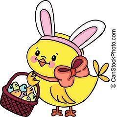 pulcino, con, orecchi coniglietto, presa a terra, cesto, con, uova pasqua