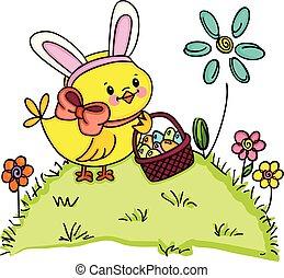 pulcino, con, orecchi coniglietto, presa a terra, cesto, con, uova pasqua, in, giardino