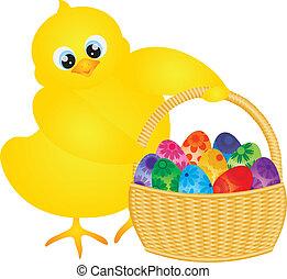 pulcino pasqua, con, cesto, di, floreale, uova