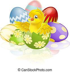 pulcino pasqua, in, uovo
