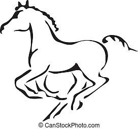 puledro, vettore, nero, bianco, profili, galloping