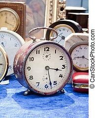 pulga, clocks, antigas, mercado