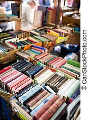 pulga, livros, antigas, mercado