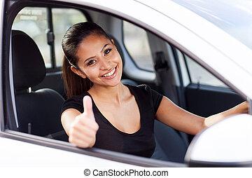 pulgar, dar, mujer de negocios, dentro, arriba, coche, nuevo