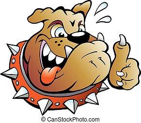 pulgar, dar, perro, arriba, toro, excitado