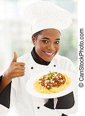 pulgar, desistimiento, chef, norteamericano, africano femenino