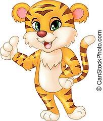 pulgar, desistimiento, tigre, bebé, mascota