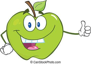 pulgar, manzana verde, teniendo arriba