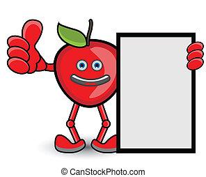 pulgar, postura, arriba, bandera, manzana roja