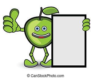 pulgar, postura, arriba, verde, bandera, manzana