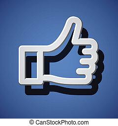 pulgar, símbolo, arriba, mano, vector, blanco