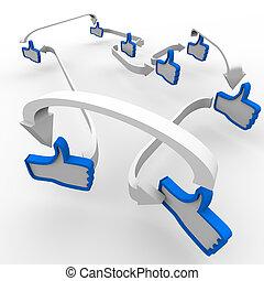 pulgar up, como, conectado, símbolos, comunicación