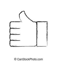 pulgar up, como, símbolo