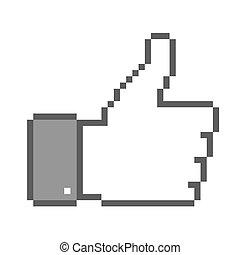 pulgar up, pixel