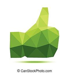 pulgar up, polygonal, verde, geométrico, icono
