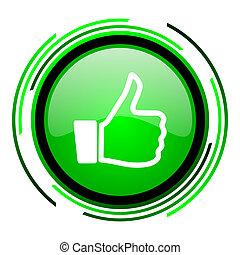 pulgar up, verde, círculo, brillante, icono