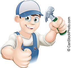 pulgares arriba, carpintero, o, constructor