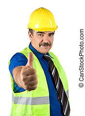pulgares arriba, ingeniero, hombre, maduro, elasticidad