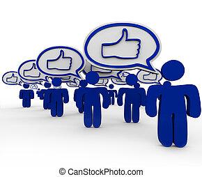 pulgares arriba, -, muchos, las personas hablar, y, expresar, como, sentimientos
