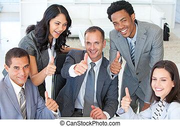 pulgares, businessteam, arriba, oficina, feliz