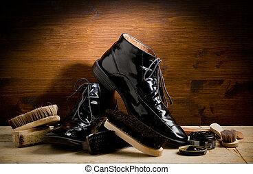 pulido, herramientas, zapato