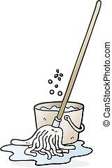 pulire pavimento secchio, cartone animato