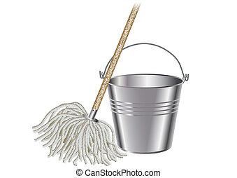 pulire pavimento secchio